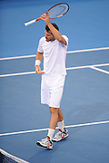 Brisbane, Australia, December 30: Tommy Haas of Germany lifts his racquet above his head during a training session at Pat Rafter Arena ahead of the 2012 Brisbane International Tennis Tournament in Brisbane, Australia on Friday December 30th, 2011. (Photo: Matt Roberts/Photo News)