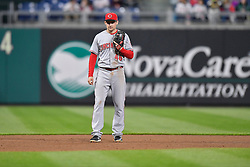 April 11, 2018 - Philadelphia, PA, U.S. - PHILADELPHIA, PA - APRIL 11: Cincinnati Reds third baseman Phil Gosselin (46) ready for action during the MLB game between the Cincinnati Reds and the Philadelphia Phillies on April 11, 2018 at Citizens Bank Park in Philadelphia PA. (Photo by Gavin Baker/Icon Sportswire) (Credit Image: © Gavin Baker/Icon SMI via ZUMA Press)