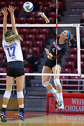 23 November 2017:  Sarah Peterson strikes the ball over Paige Aspinwall during a college women's volleyball match between the Drake Bulldogs and the Indiana State Sycamores in the Missouri Valley Conference Tournament at Redbird Arena in Normal IL (Photo by Alan Look)