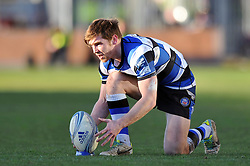 Tom Heathcote (Bath) lines the ball up for the conversion - Photo mandatory by-line: Patrick Khachfe/JMP - Tel: Mobile: 07966 386802 11/01/2014 - SPORT - RUGBY UNION -  Rodney Parade, Newport - Newport Gwent Dragons v Bath - Amlin Challenge Cup.