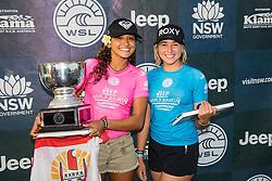 Vahine Fierro of Polynesia wins the 2018 World Junior Championship after defeating Summer Macedo of Hawaii in the final at Kiama, NSW, Australia.