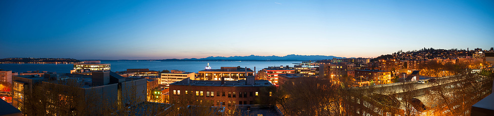 2013 April 22 - Evening panoramic view of Lower Queen Anne, and Puget Sound, Seattle, WA. By Richard Walker
