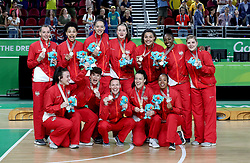 England celebrate with their silver medals after the Women's Gold Medal Game at the Gold Coast Convention and Exhibition Centre during day ten of the 2018 Commonwealth Games in the Gold Coast, Australia.