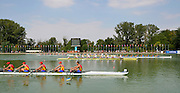 Plovdiv BULGARIA.  Race for the line. GBR M8+ grabbing the Bronze Medal on the line, Crew Bow Charles SHAW, Titus MORLEY, Eduardo MUNNO, Thomas GEORGE, Callum JONES, Oliver WYNNE-GRIFFITH, Matthew BENSTEAD, Thomas MARSHALL and Cox Edward HENSHAW Gold Medalist ITA JM8+ and Silver Medalist GER JM8+.  2012 FISA Junior and Non Olympic . Rowing Championships, Plovdiv Rowing Course.     12:35:44  Sunday  19/08/2012 [Mandatory Credit Peter Spurrier: Intersport Images]...