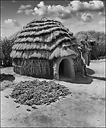 Sorgum being dried in the sun in a traditional tribal compound infront of a tribal thatched hut with a mother and child. Karamajong of Karamoja, Uganda 1980