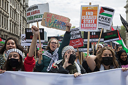 Tens of thousands of people take part in the National Demonstration for Palestine from Victoria Embankment to Hyde Park on 22nd May 2021 in London, United Kingdom. The demonstration was organised by pro-Palestinian solidarity groups in protest against Israel's recent attacks on Gaza, its incursions at the Al-Aqsa mosque and its attempts to forcibly displace Palestinian families from the Sheikh Jarrah neighbourhood of East Jerusalem.