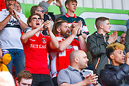 Charlton Athletic fans before the EFL Sky Bet League 1 play off first leg match between Doncaster Rovers and Charlton Athletic at the Keepmoat Stadium, Doncaster, England on 12 May 2019.