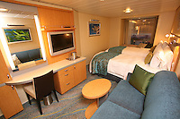 The launch of Royal Caribbean International's Oasis of the Seas, the worlds largest cruise ship..Staterooms,.Promenade stateroom.