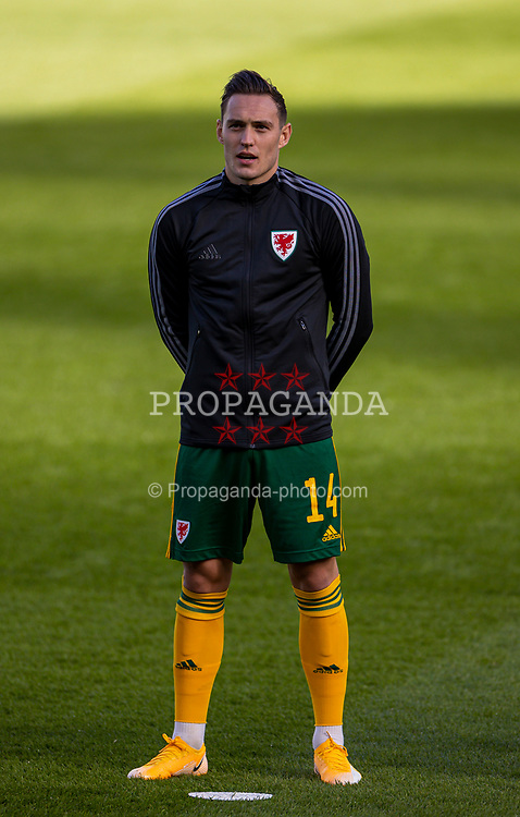 DUBLIN, REPUBLIC OF IRELAND - Sunday, October 11, 2020: Wales' Connor Roberts lines-up for the national anthem before the UEFA Nations League Group Stage League B Group 4 match between Republic of Ireland and Wales at the Aviva Stadium. The game ended in a 0-0 draw. (Pic by David Rawcliffe/Propaganda)