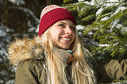 Close-up of a happy teenage girl in winter, Bavaria, Germany