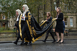 © Licensed to London News Pictures. 18/10/2015. York, UK. Senior judges and members of the legal profession in northern England gather for the annual Legal Service Parade and service at York Minster marking the start of the Legal Year. Photo credit : Anna Gowthorpe/LNP