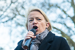 "London, January 30th 2016. Hundreds march from the Imperial War Museum through the streets of Lambeth to Downing Street demanding ""Kill The Housing Bill"". PICTURED: Natalie Bennett of the Green Part addresses the crowd before the march. ///FOR LICENCING CONTACT: paul@pauldaveycreative.co.uk TEL:+44 (0) 7966 016 296 or +44 (0) 20 8969 6875. ©2015 Paul R Davey. All rights reserved."
