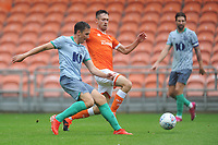 Blackburn Rovers' Stewart Downing under pressure from Blackpool's Ryan Hardie<br /> <br /> Photographer Kevin Barnes/CameraSport<br /> <br /> Football Pre-Season Friendly - Blackpool v Blackburn Rovers - Saturday July 27th 2019 - Bloomfield Road - Blackpool<br /> <br /> World Copyright © 2019 CameraSport. All rights reserved. 43 Linden Ave. Countesthorpe. Leicester. England. LE8 5PG - Tel: +44 (0) 116 277 4147 - admin@camerasport.com - www.camerasport.com