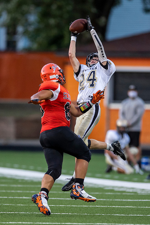 Penn's Seth Jankowski intercepts pass intended for LaPorte's Grant Ott-Large during the Penn-LaPorte high school football game on Friday, August 28, 2020, at Kiwanis Field in LaPorte, Indiana.