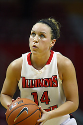 30 December 2010: Amanda Clifton takes a free shot during an NCAA Womens basketball game between the Bradley Braves and the Illinois State Redbirds at Redbird Arena in Normal Illinois.