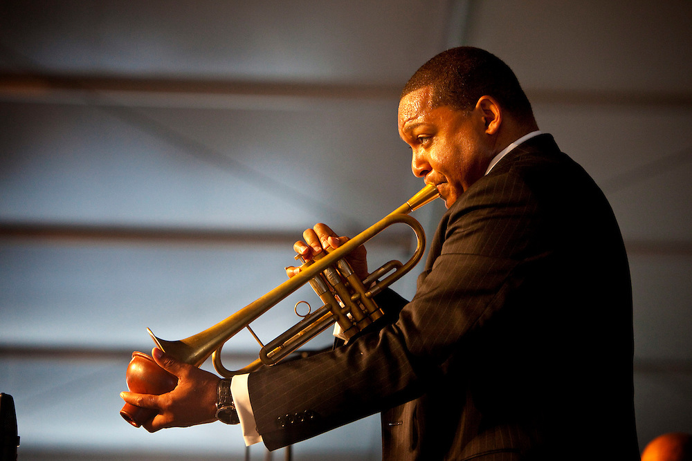 New Orleans born jazz trumpeter, composer and educator Wynton Marsalis performing on the Jazz Tent stage at the New Orleans Jazz and Heritage Festival at the New Orleans Fair Grounds Race Course in New Orleans, Louisiana, USA, 25 April 2009.