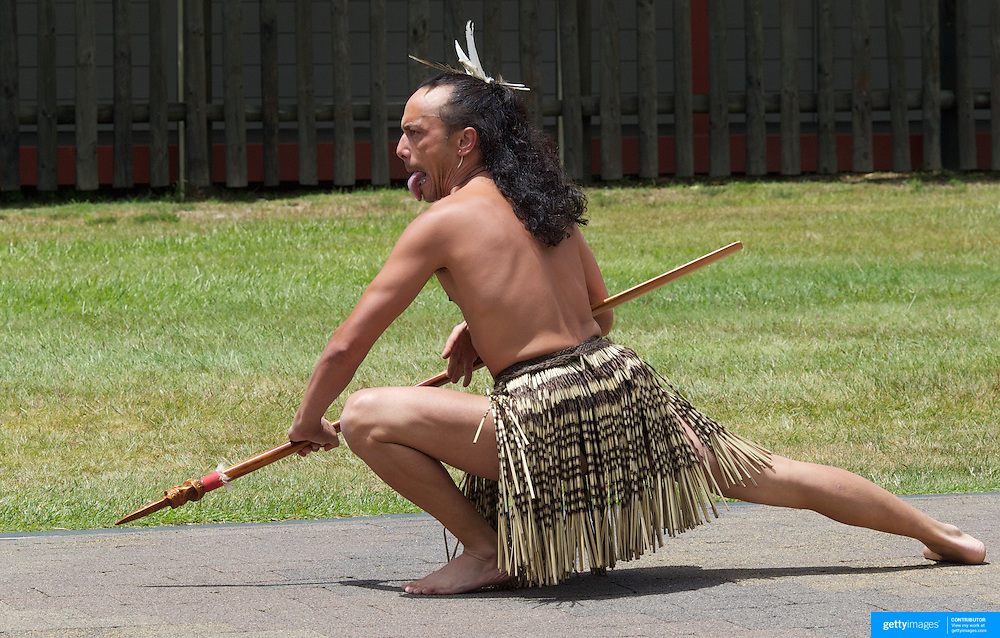 A Maori Cultural Performances at Te Puia, Maori Arts and Crafts Institute, Te Whakarewarewa Thermal Valley, Rotorua, New Zealand..Te Puia is the premier Maori cultural centre in New Zealand, a place of  steaming vents, boiling mud pools and spectacular geysers. Maori culture also includes the National Carving and Weaving Schools while the Maori Cultural performance include Meeting House greeting, Maori traditional dance and the famous Haka. Rotorua, New Zealand,, 8th December 2010 Photo Tim Clayton