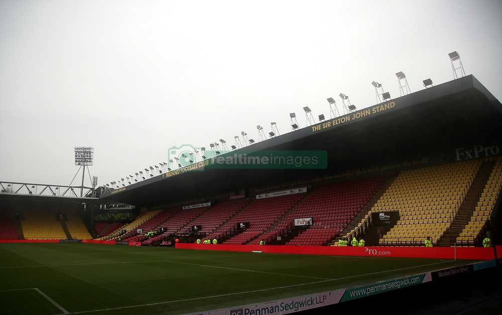 General view of the Sir Elton John stand before the Premier League match at Vicarage Road, Watford.