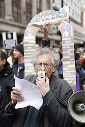 © Licensed to London News Pictures. 17/10/2020. London, UK. Activist Piers Corbyn joins protestors calling for an end to Coronavirus lockdown restrictions marching on Oxford Street in central London. Other groups who believe that the virus is a hoax and a conspiracy have also joined today's demonstration called the ' March for Freedom'. Photo credit: Peter Macdiarmid/LNP