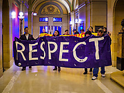 01 MAY 2017 - ST. PAUL, MN: Immigrants' rights protesters march through the Minnesota State Capitol on May Day. About 300 people, representing immigrants' and workers' rights organizations, marched through the Minnesota State Capitol during a demonstration to mark May Day, International Workers' Day.      PHOTO BY JACK KURTZ
