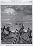 Tay Bridge disaster,  28 December 1779. View of broken bridge from north end. Engraving from 'The Illustrated London News', 1879.