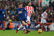 Ander Herrera of Manchester Utd in action. Premier league match, Stoke City v Manchester Utd at the Bet365 Stadium in Stoke on Trent, Staffs on Saturday 21st January 2017.<br /> pic by Andrew Orchard, Andrew Orchard sports photography.