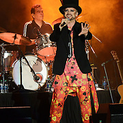 BETHLEHEM, PA - AUGUST 08:  (L-R) Drummer Jon Moss and vocalist Boy George of Culture Club perform at Sands Steel Stage at PNC Plaza on August 8, 2015 in Bethlehem, Pennsylvania.  (Photo by Lisa Lake/Getty Images)
