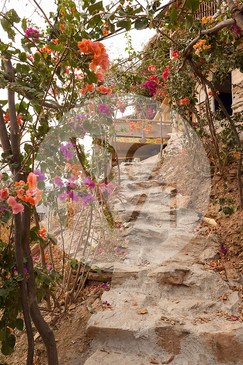 KOLUMBIEN - TAGANGA - Treppe mit Blumenbogen zum Hostel Casa Horizonte - 3. April 2014 © Raphael Hünerfauth - http://huenerfauth.ch