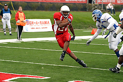 13 October 2007: Geno Blow strides up the field as Donye McCleskey approaches and is too late to stop the touchcown..  The Indiana State Sycamores were jacked 69-17 by the Illinois State Redbirds at Hancock Stadium on the campus of Illinois State University in Normal Illinois.