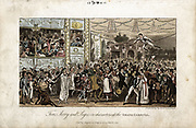 Tom, Jerry and Logic at the Grand Carnival. Illustration by IR and G Cruickshank for Pierce Egan 'Life in London' 1821. Aquatint