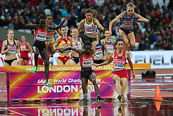 London, August 09 2017 . Purity Cherotich Kirui, Kenya, and Fadwa Sidi Madane, Morocco, lead Colleen Quigley, USA, in the women's 3,000m steeplechase heats on day six of the IAAF London 2017 world Championships at the London Stadium. © Paul Davey.