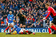 Rangers Striker Alfredo Morelos is fouled during the Ladbrokes Scottish Premiership match between Rangers and Kilmarnock at Ibrox, Glasgow, Scotland on 16 March 2019.