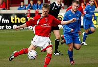 Photo: Paul Greenwood.<br />Accrington Stanley v Macclesfield Town. Coca Cola League 2. 28/04/2007.<br />Accrington's James Stanley shoots on goal