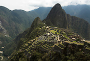 Machu Picchu Inca Ruins, view looking down onto ruins, Mount Huayna Picchu in background, Sacred Urubamba Valley, Andes, Peru, sacred, temple, andean, mountain.