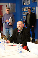 "15.011.10. Copenhagen, Denmark.  Press conference of Danish cartoonist Kurt Westergaard convened by the recent publication of his memoirs.The book entitled ""The Man Behind the Line"" details the life of 75-year-old Westergaard, and also features a republished version of his controversial drawing that has earned him numerous death threats and assassination attempts.Photo: © Ricardo Ramirez"