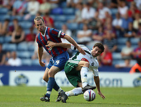 Palace's skipper Shaun Derry battles with Plymouth's Jim Patterson<br /> Coca Cola Chmpionship. Crystal Palace v Plymouth. 08.08.09<br /> Pic By Karl Winter Fotosports International