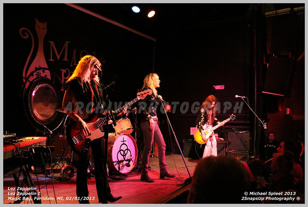 FERNDALE, MI, FRIDAY, FEB. 01, 2013: Lez Zeppelin, Led Zeppelin I  at Magic Bag, Ferndale, MI, 02/01/2013.  (Image Credit: Michael Spleet / 2SnapsUp Photography)