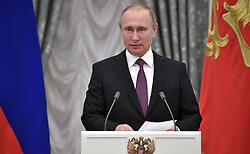 May 24, 2017 - Moscow, Russia - May 24, 2017. - Russia, Moscow. - Russian President Vladimir Putin addresses the ceremony to present state awards in science, culture, healthcare, sports and manufacturing to outstanding Russians. The Kremlin's Catherine Hall. (Credit Image: © Russian Look via ZUMA Wire)