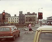 Old amateur photos of Dublin streets churches, cars, lanes, roads, shops schools, hospitals, Hilman Avenger estate, Renault 4 College Stores Johns Rd Bridgsfort St. Bridges Queen St Butchers Bike April 1984