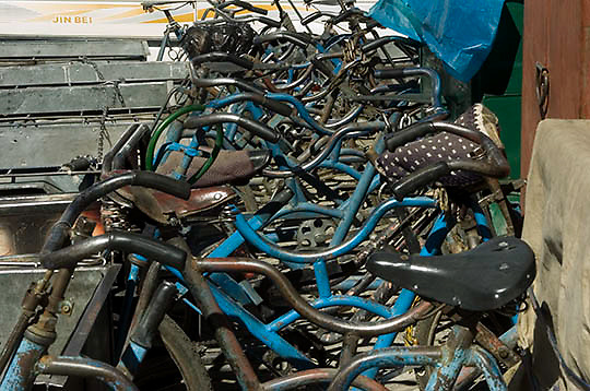 Bicycles parked outside shops in Lhasa, Tibet.