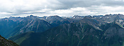 Panoramic view of the Purcell Mountains, looking west from above Kicking Horse Ski Resort, near Golden, BC, Canada.