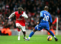 Photo: Tom Dulat/Sportsbeat Images.<br /> <br /> Arsenal v Wigan Athletic. The FA Barclays Premiership. 24/11/2007.<br /> <br /> Salomon Olembe of Wigan Athletic and Bacary Sagna of Arsenal with the ball.