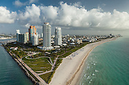 Aerial view of South Beach, Miami Beach and South Pointe Park with One Ocean and other condominiums.