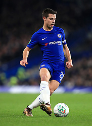 """Chelsea's Cesar Azpilicueta during the Carabao Cup Semi Final, First Leg match at Stamford Bridge, London. PRESS ASSOCIATION Photo. Picture date: Wednesday January 10, 2018. See PA story SOCCER Chelsea. Photo credit should read: Mike Egerton/PA Wire. RESTRICTIONS: EDITORIAL USE ONLY No use with unauthorised audio, video, data, fixture lists, club/league logos or """"live"""" services. Online in-match use limited to 75 images, no video emulation. No use in betting, games or single club/league/player publications."""