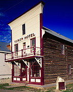 Yukon Hotel, two story log building with facade of milled lumber, built in 1898, Dawson City, Yukon Territory, Canada.