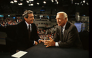 Dan Rather and Walter Cronkite cover the Democratic Convention in 1980 ..Photo by Dennis Brackbb 24