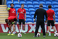 Ashley Williams of Wales (l) and Aaron Ramsey of Wales © look on during the Wales football team training at the Cardiff city Stadium in Cardiff , South Wales on Friday 1st September 2017.  the team are preparing for their FIFA World Cup qualifier home to Austria tomorrow.  pic by Andrew Orchard, Andrew Orchard sports photography