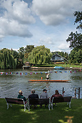 """Maidenhead, United Kingdom.  """"Single"""", with spectators looking on, """"Thames Punting Club Regatta"""", Bray Reach.<br />  Sunday  06/08/2017<br /> <br /> [Mandatory Credit. Peter SPURRIER Intersport Images}.<br /> <br /> LEICA Q (Typ 116) 28mm  f1.7   1/6400 /sec    100 ISO River Thames, .......... Summer, Sport, Sunny, Bright, Blue Skies, Skilful,"""