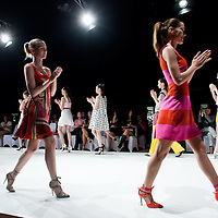 Model on the catwalk during the Essential Looks fashion show in Budapest, Hungary on April 30, 2011. ATTILA VOLGYI