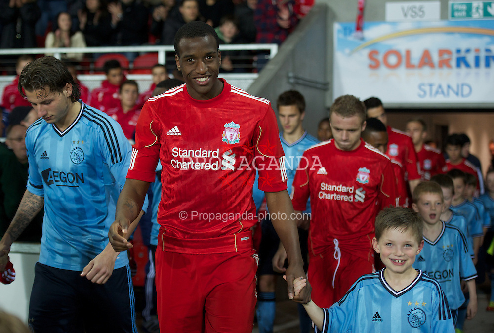 ST HELENS, ENGLAND - Wednesday, March 14, 2012: Liverpool's Michael Ngoo walks out to face AFC Ajax during the NextGen Series Semi-Final match at Langtree Park. (Pic by David Rawcliffe/Propaganda)